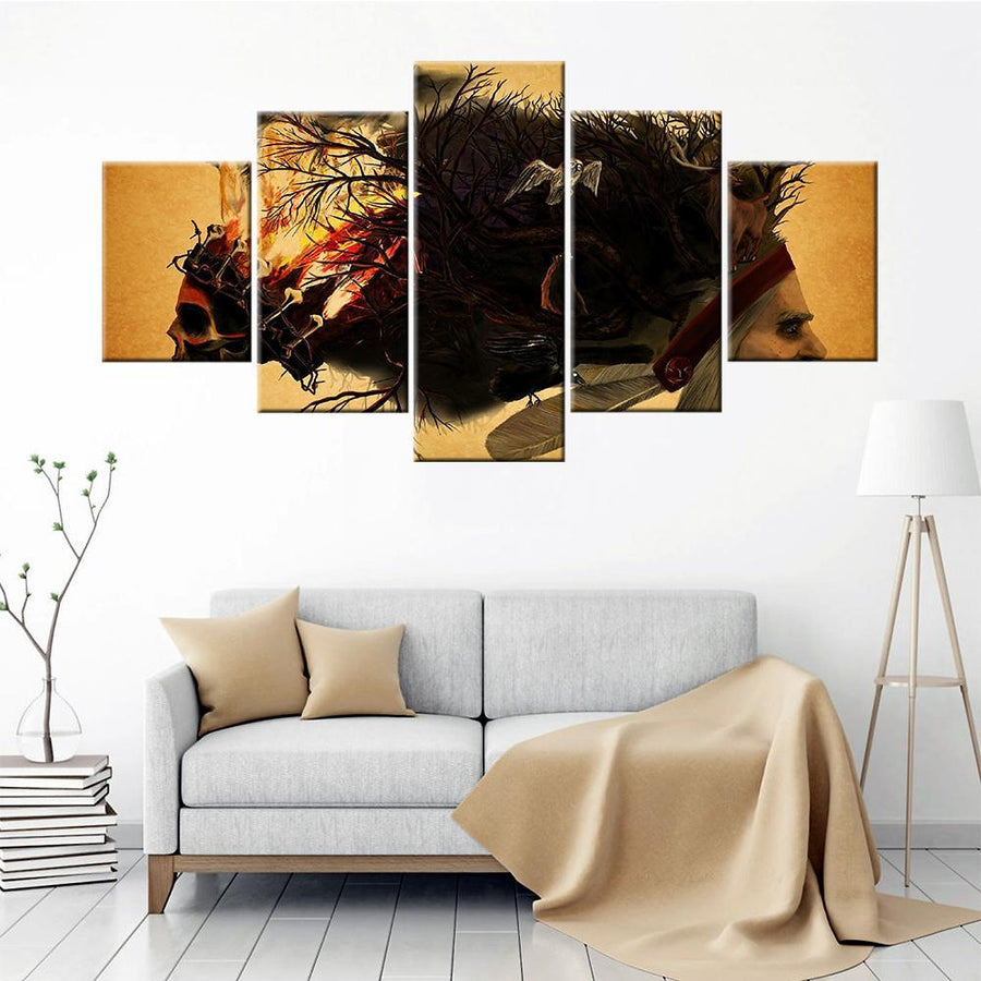 Skulls and tribes abstract Canvas Set