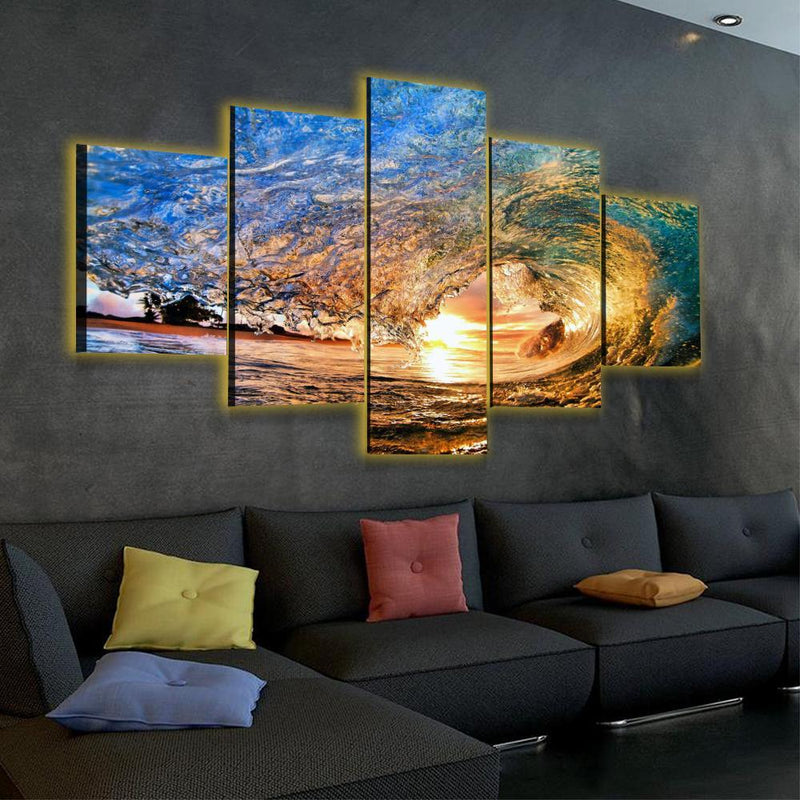 Sunset Waves LED Canvas Set - Canvasist