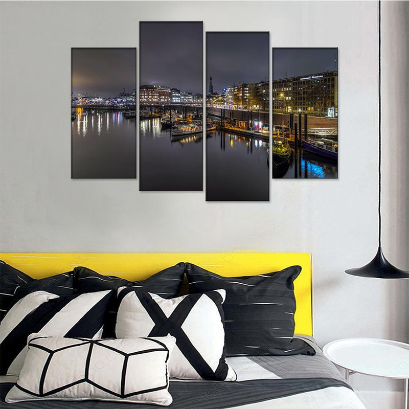 Hamburg Port View Canvas Set - Canvasist
