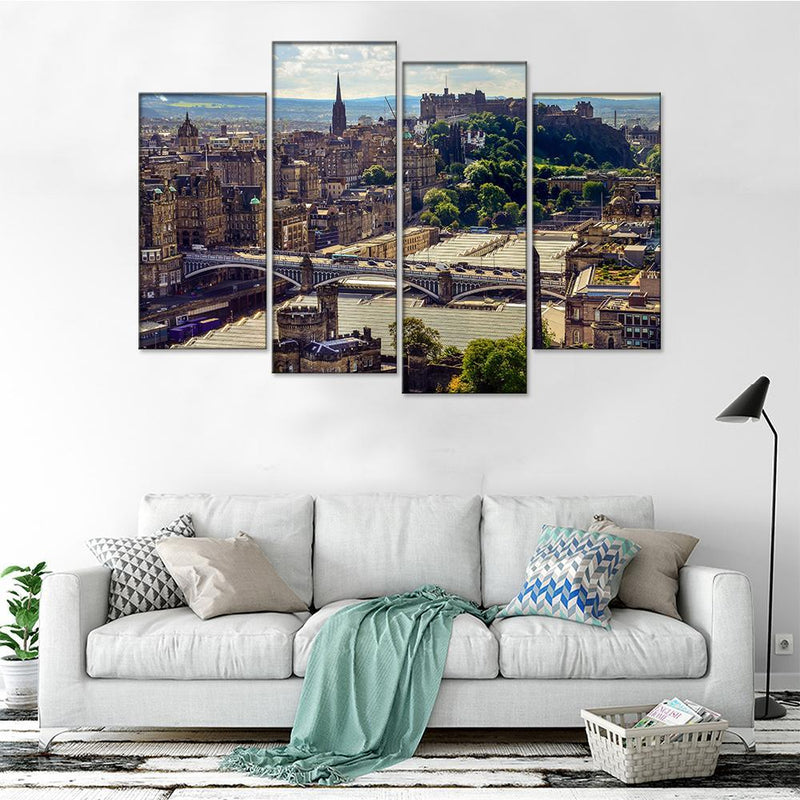 Edinburgh City Birds Eye View Canvas Set - Canvasist