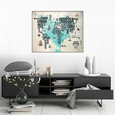 World Map with Names Canvas Set - Canvasist