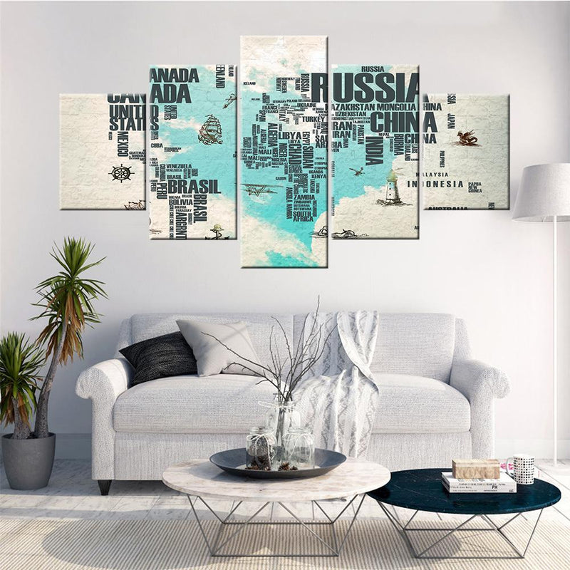 World Map with Names Canvas Set