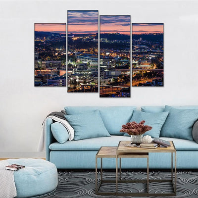 Stuttgart City Birds Eye View Canvas Set - Canvasist