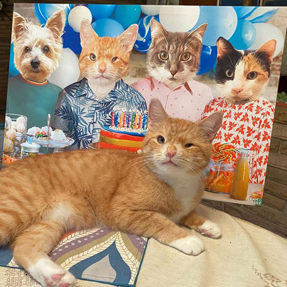 Birthday Purrty Pet Canvas