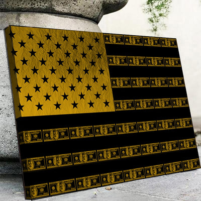 Gold dollar flag - Canvasist