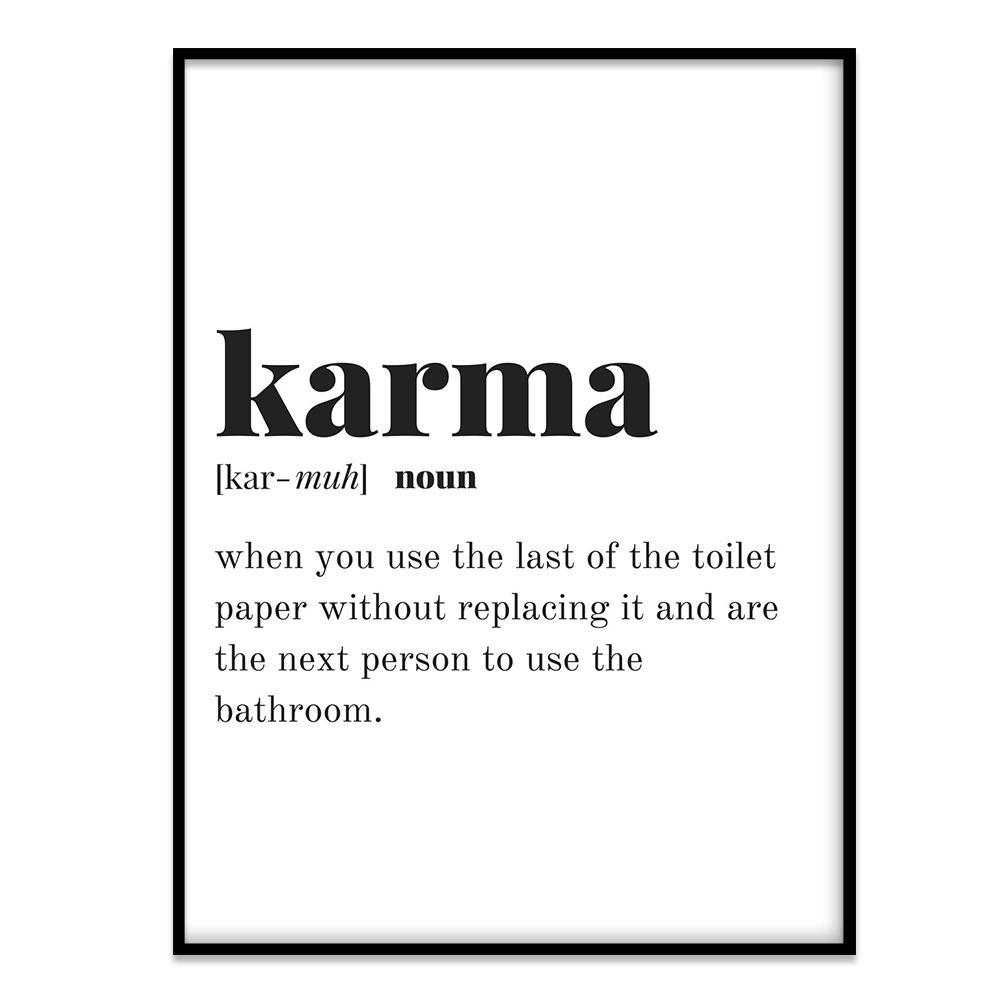 bathroom quote // karma definition - canvasist