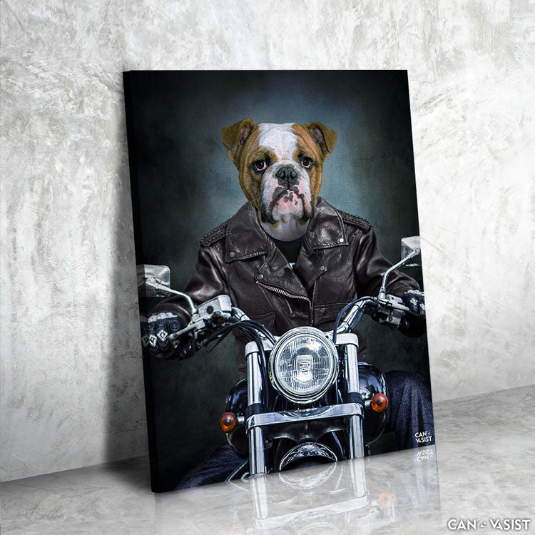 Motorcyclist Pet Canvas
