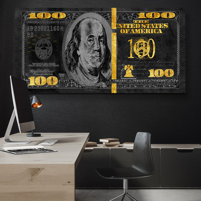 Black and Gold Dollar Bill - Canvasist