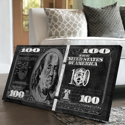 Black and Silver Dollar Bill - Canvasist