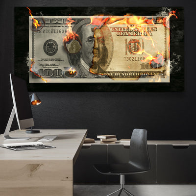Burning Dollar Bill - Canvasist