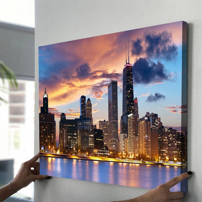 Chicago at Dusk Canvas Set - Canvasist