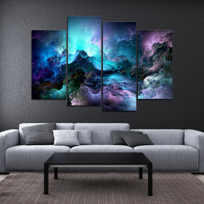 Colorful nebula Blue Canvas art Set - Canvasist
