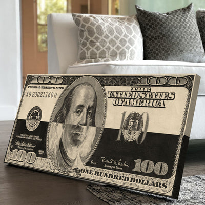 Black and White Dollar Bill - Canvasist
