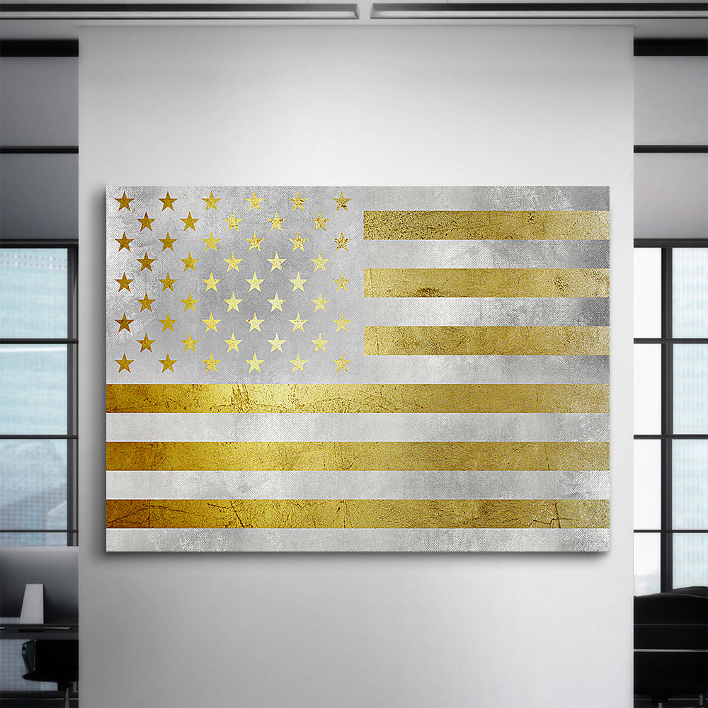 Golden American Flag Canvas Set - Canvasist