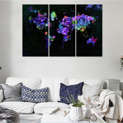 Butterfly bloom Map Canvas Set - Canvasist