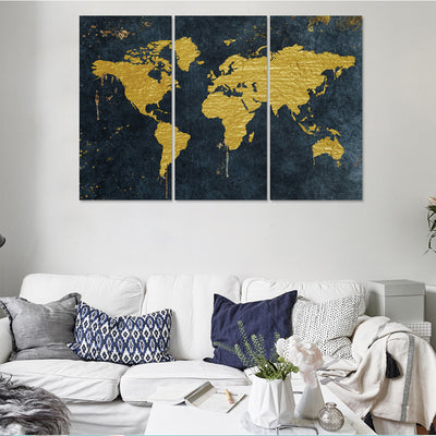 Golden Map Canvas Set - Canvasist