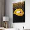 Golden Glitter Lips Art - Canvasist