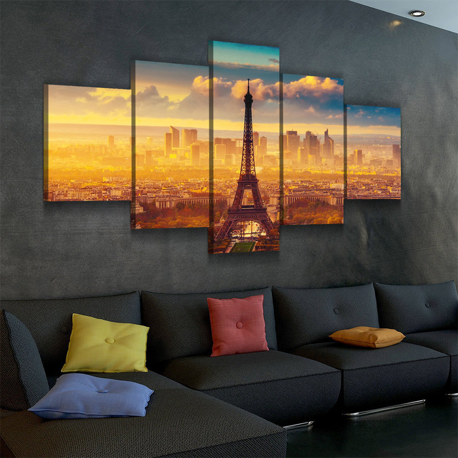 Paris Eiffel Tower At Dusk Canvas Set