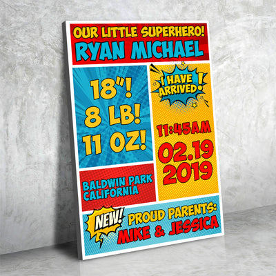Baby Superhero Stats Canvas Set - Canvasist