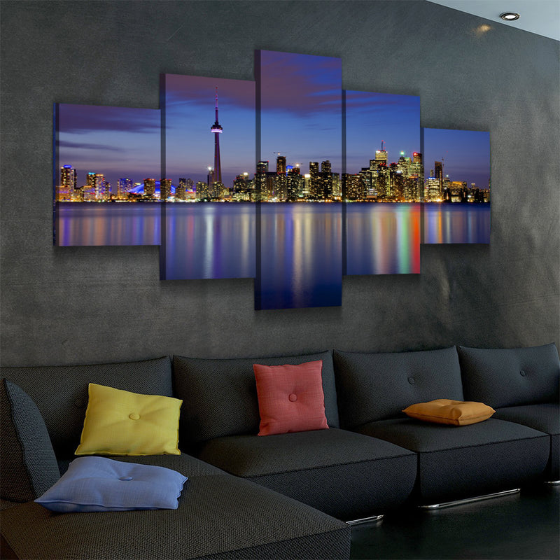 Toronto Skyline Lake View Canvas Set - Canvasist