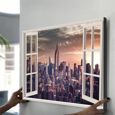 New York window View Canvas Set - Canvasist