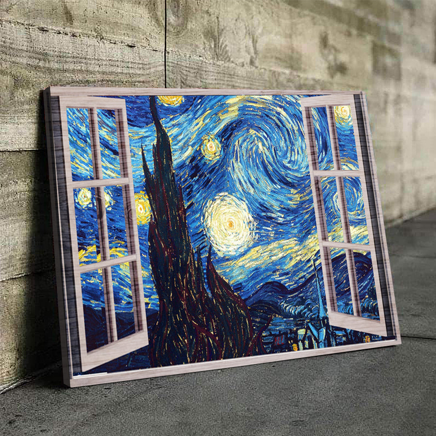 Starry night window view Canvas Set