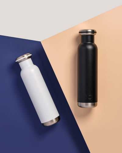 color blocking with black and white bq bottles