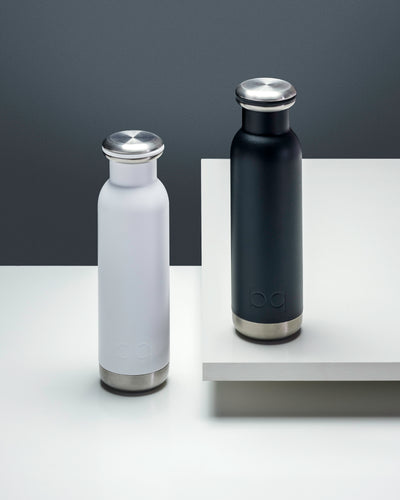 two black and white hydration bottles