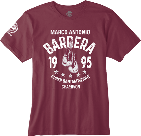 "MARCO ANTONIO BARRERA ""1995 SUPER BANTAMWEIGHT CHAMPION"" BURGUNDY OFFICIAL NVBHOF T-SHIRT"