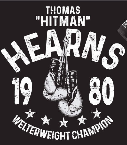 "THOMAS ""HITMAN"" HEARNS ""1980 WELTERWEIGHT CHAMPION"" OFFICIAL NVBHOF T-SHIRT TOMMY"
