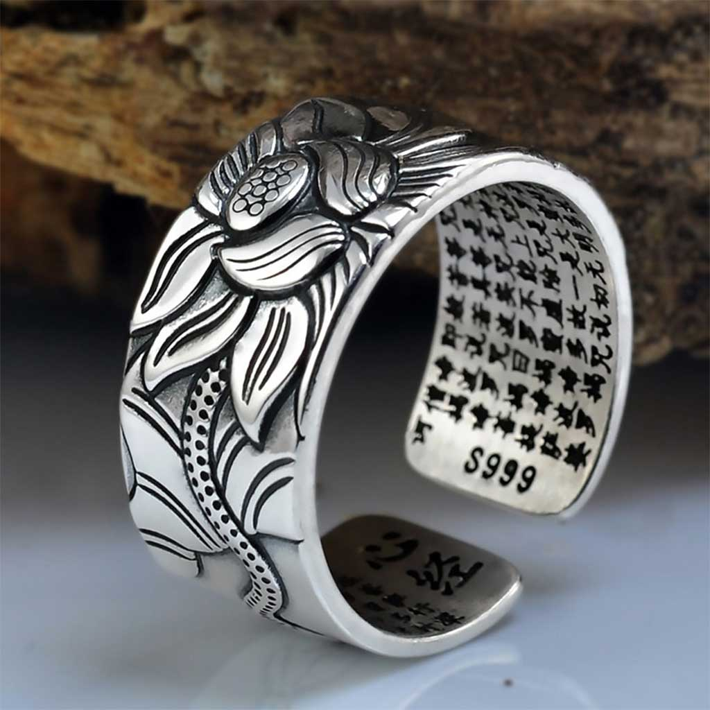 Heart Sutra Lotus Flower Ring [99.9% Pure Silver] - GearBody