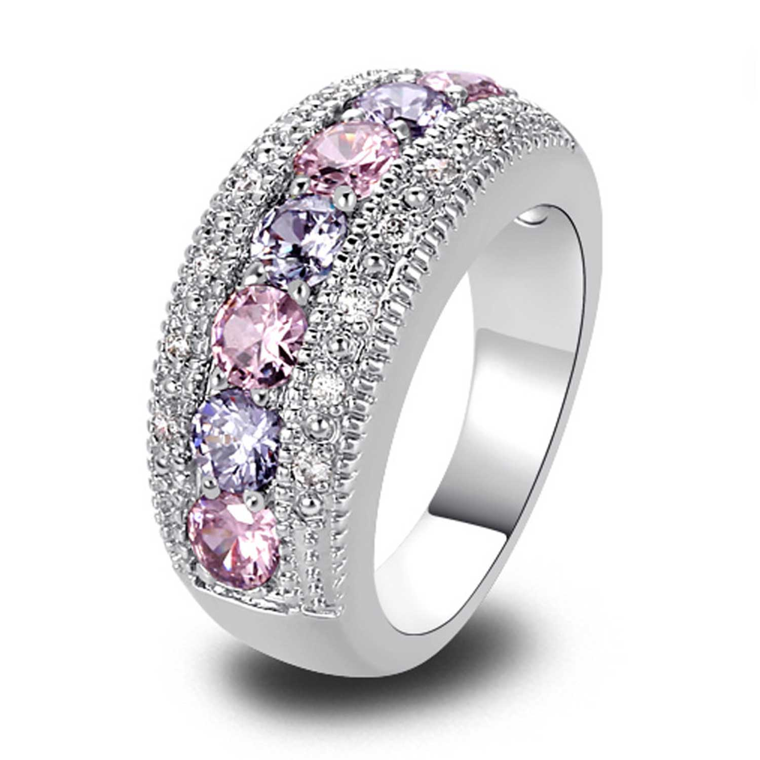 Lady Pink Tourmaline Silver Color Ring - GearBody