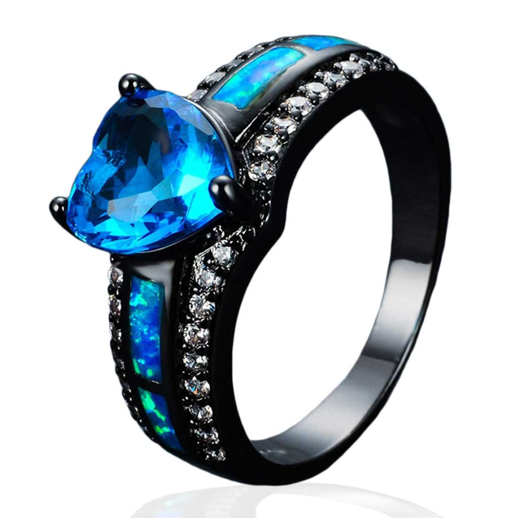 Blue February Black Gold Filled Birthstone Ring - GearBody