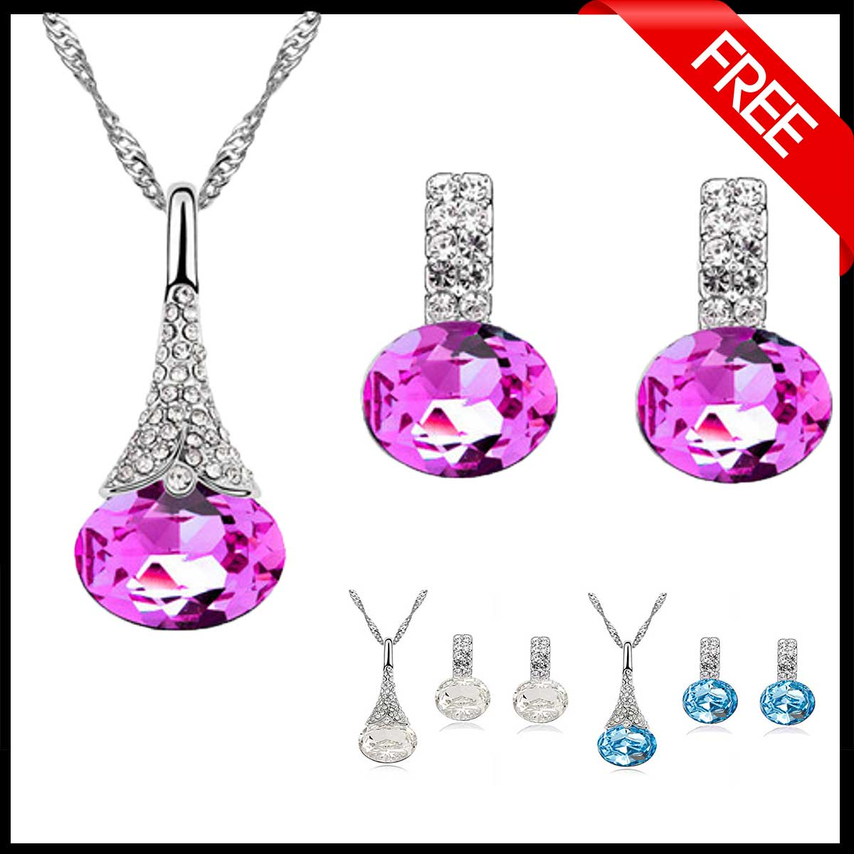 FREE Crystal Water Drop Pendant & Earring Set - GearBody