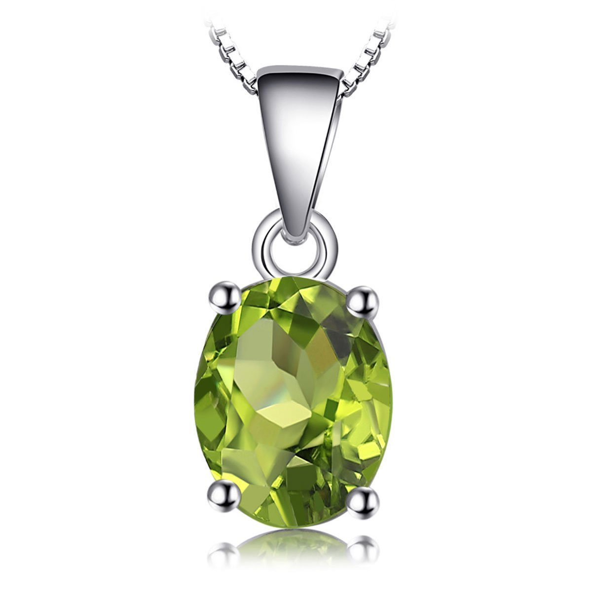 August Peridot Solitaire Pendant Genuine 925 Sterling Silver - GearBody