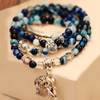 Natural Blue Tourmaline Elephant and Buddha Charm Wrap Bracelet - GearBody