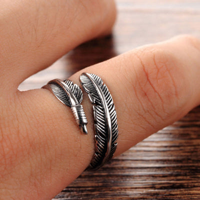 Sterling Silver Feather Open Ring - GearBody