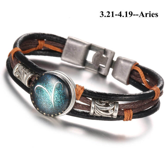 Punk Zodiac Constellation Leather Bracelet - GearBody
