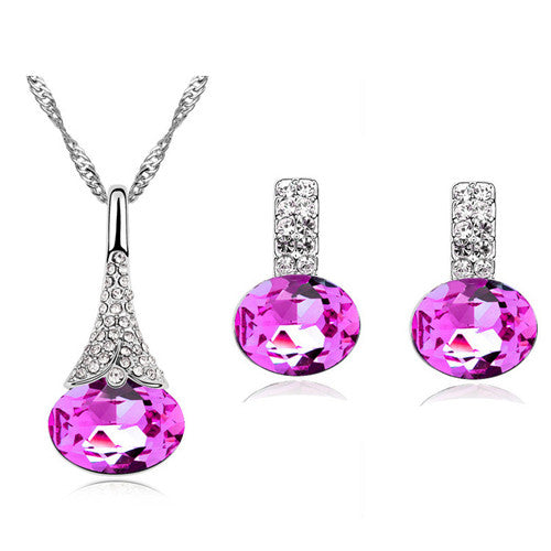 Crystal Water Drop Pendant & Earring Set - GearBody