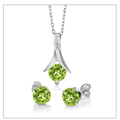 August Green Peridot Pendant and Earrings Set - GearBody