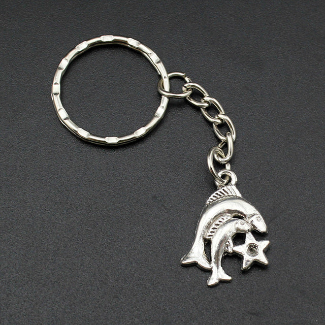Handmade Silver Pisces Keyring - GearBody