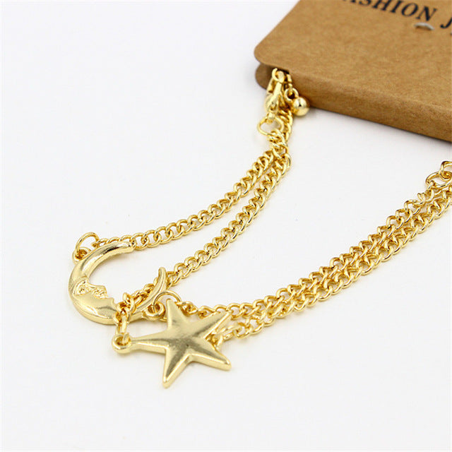 Golden Moon and Star Romantic Couples Bracelet 2 Pcs Set - GearBody