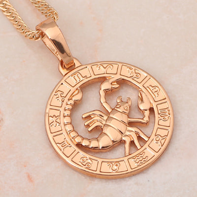 Fiery Red Scorpio Gold Plated Pendant Necklace - GearBody