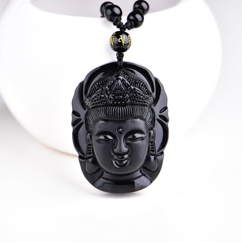 Carved Buddha Obsidian Pendant - GearBody