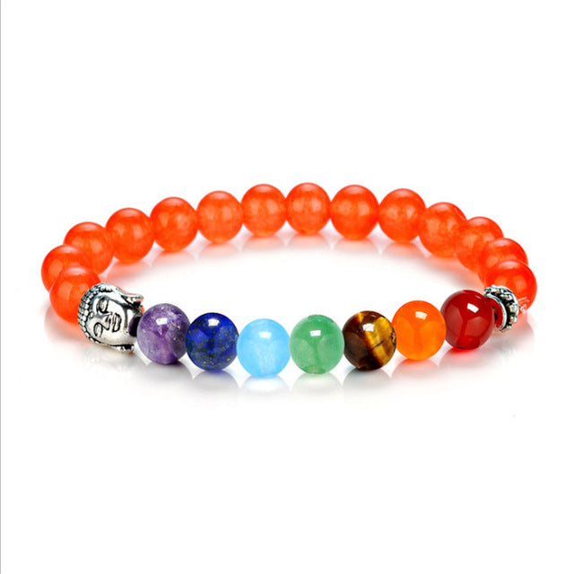 7 Chakra Bracelets 8mm Beads Bangle Orange - GearBody