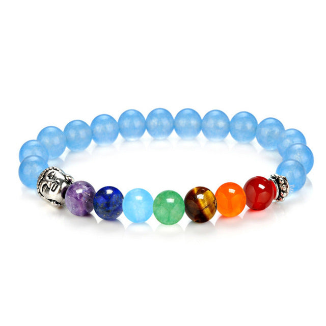 7 Chakra Bracelets 8mm Beads Bangle Blue - GearBody
