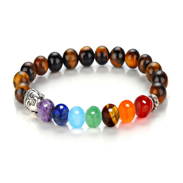 7 Chakra Bracelets 8mm Beads Bangle Brown - GearBody