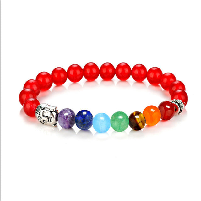 7 Chakra Bracelets 8mm Beads Bangle Red - GearBody