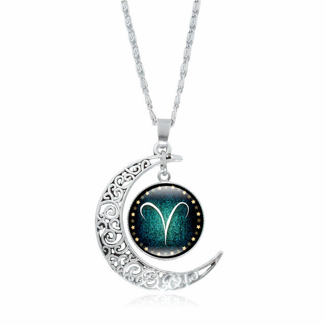 Premium Zodiac Constellation Silver Crescent Moon Pendant Necklace - GearBody