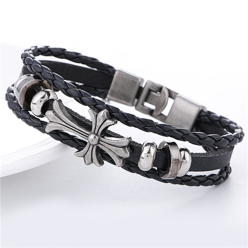 Mens Vintage Flowered Cross Bracelet - GearBody